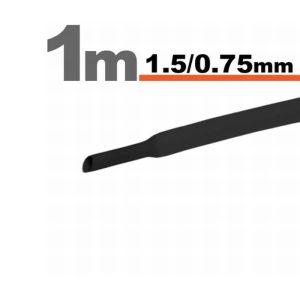Zsugorcső Fekete, 20 méter - 1,5 / 0,75 mm - 11019F