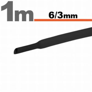 Zsugorcső Fekete, 10 méter - 6 / 3 mm - 11022F