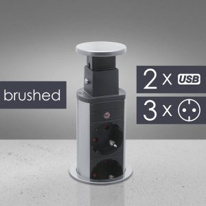 Rejtett elosztó 3-as + 2 USB szálcsiszolt - 20430BU