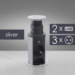 Rejtett elosztó 3-as + 2 x USB - 20430SU