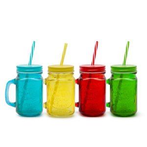 Üvegpohár - korsó 4 szín 450 ml - 57161