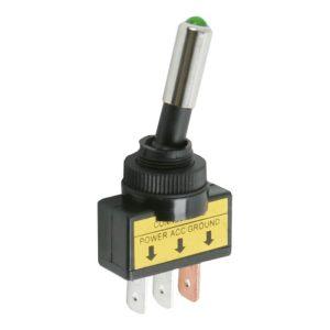Karos kapcsoló 1 áramkör 20 A - 12 V DC - zöld led - 2 db / csomag - 09058ZO