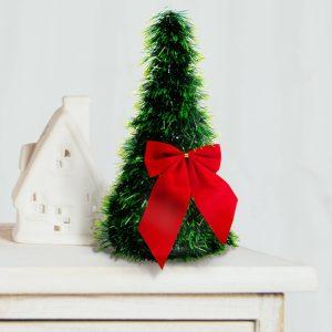 Family Karácsonyi, asztali műfenyő - zöld - 2 piros masnival - 26 cm- 58002B