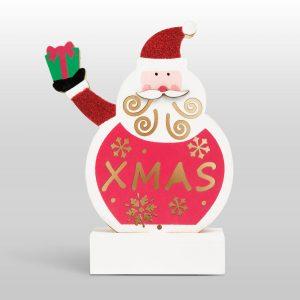 Family Karácsonyi LED asztali dekor fából - mikulás - 58011A