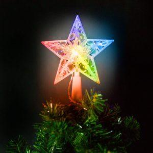 Family Pound Karácsonyi LED-es csillag csúcsdísz - 10 LED - 15 cm - RGB - 58034