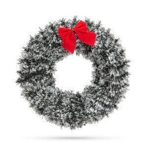 Family Karácsonyi ajtódísz - piros masnival és dísszel - 58003A