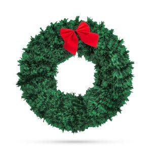 Family Karácsonyi ajtódísz - piros masnival és dísszel - 58003B