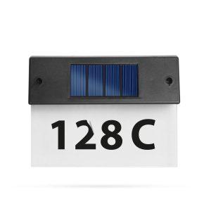 Globiz Szolár házszámfény - átlátszó plexi - hidegfehér LED - 18 x 20 cm - 11446C