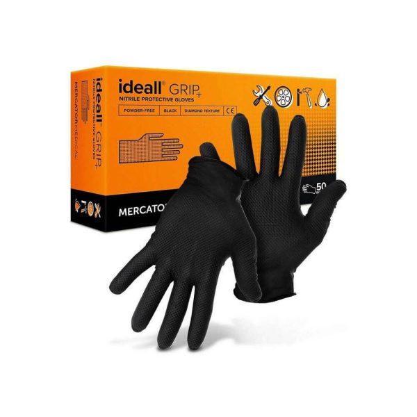 MERCATOR Ideall grip+ black nitril, púdermentes, teljes felületén textúrált, fekete kesztyű XXL 50db