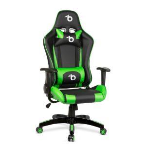 Bewello Gamer szék - derékpárnával, fejpárnával - zöld - BMD1106GR