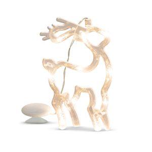 LED-es ablakdekor - rénszarvas - 19 x 13,5 cm - melegfehér - 3 x AAA -  56521A