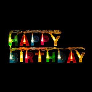 """Family Születésnapi LED-es fényfüzér - """"Happy Birthday"""" - 13 LED - 2 x AA - 2 m - 56529A"""