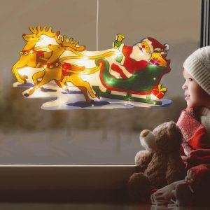 Nagyméretű LED-es ablakdekor - rénszarvas, mikulás - 45 x 24 cm - melegfehér - 3 x AAA - 56530B