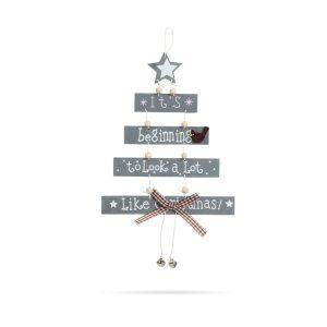 Karácsonyi ajtódísz fából - akasztóval - 17 x 30 cm - szürke - 58246B