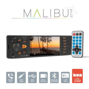 "MNC Multimédiás fejegység ""Malibu Star"" - 1 DIN - 4 x 50 W - BT - MP3 - AUX - SD - USB - 39751"