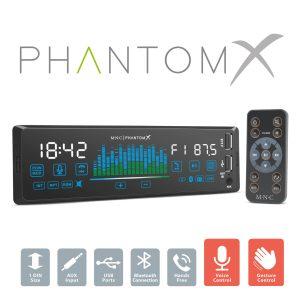 """MNC Fejegység """"PhantomX"""" - 1 DIN - 4 x 50 W - gesztusverzélés - BT - MP3 - AUX - USB - 39752"""